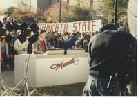 Stan Turner and Ruth Spencer, with the Minneapolis St. Paul MN KSTP television station, broadcast their 5 and 6 p.m. newscasts from Mankato State University.