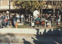 A crowd gathers for the Minneapolis St. Paul KSTP television station to broadcast its 5 and 6 p.m. newscasts from Mankato State University.