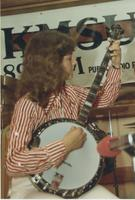 Deb Schreyer playing banjo at the KMSU Jazz Benefit at Mankato State University.