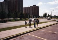 Young fans ask for MN Vikings Player autograph at  Vikings Training Camp, Mankato State University, August 1983.