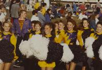 Cheerleaders at the Homecoming Parade at Mankato State University, 1989-10-20.