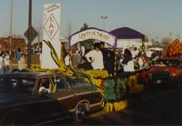 Kappa Alpha Psi Fraternity at the Homecoming Parade at Mankato State University, 1989-10-20.