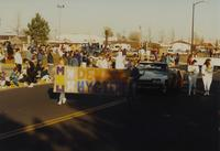 Dental Hygiene Students at the Homecoming Parade near Mankato State University, 1989-10-20.
