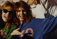 Students supporting Greek Life at Homecoming Parade near Mankato State University, 1989-10-20.