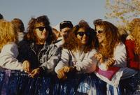 Students at the Homecoming Parade near Mankato State University, 1989-10-20.