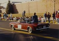 College President Margaret R. Preska at the Homecoming Parade at Mankato State University, 1989-10-20.