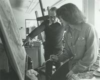 Paul Hapke, Professor of Art, helping a student at Mankato State University