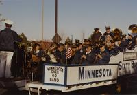 Minnesota Over 60 Band at the Homecoming Parade, Mankato State University, 1989-10-20.