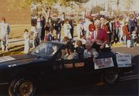 Mankato Bend of the River Queen at the Homecoming Parade near Mankato State University, 1989-10-20.