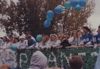 Students at the Homecoming Parade near Mankato State University, 1994.