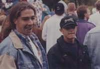 Two male students during Homecoming at Mankato State University, 1994.