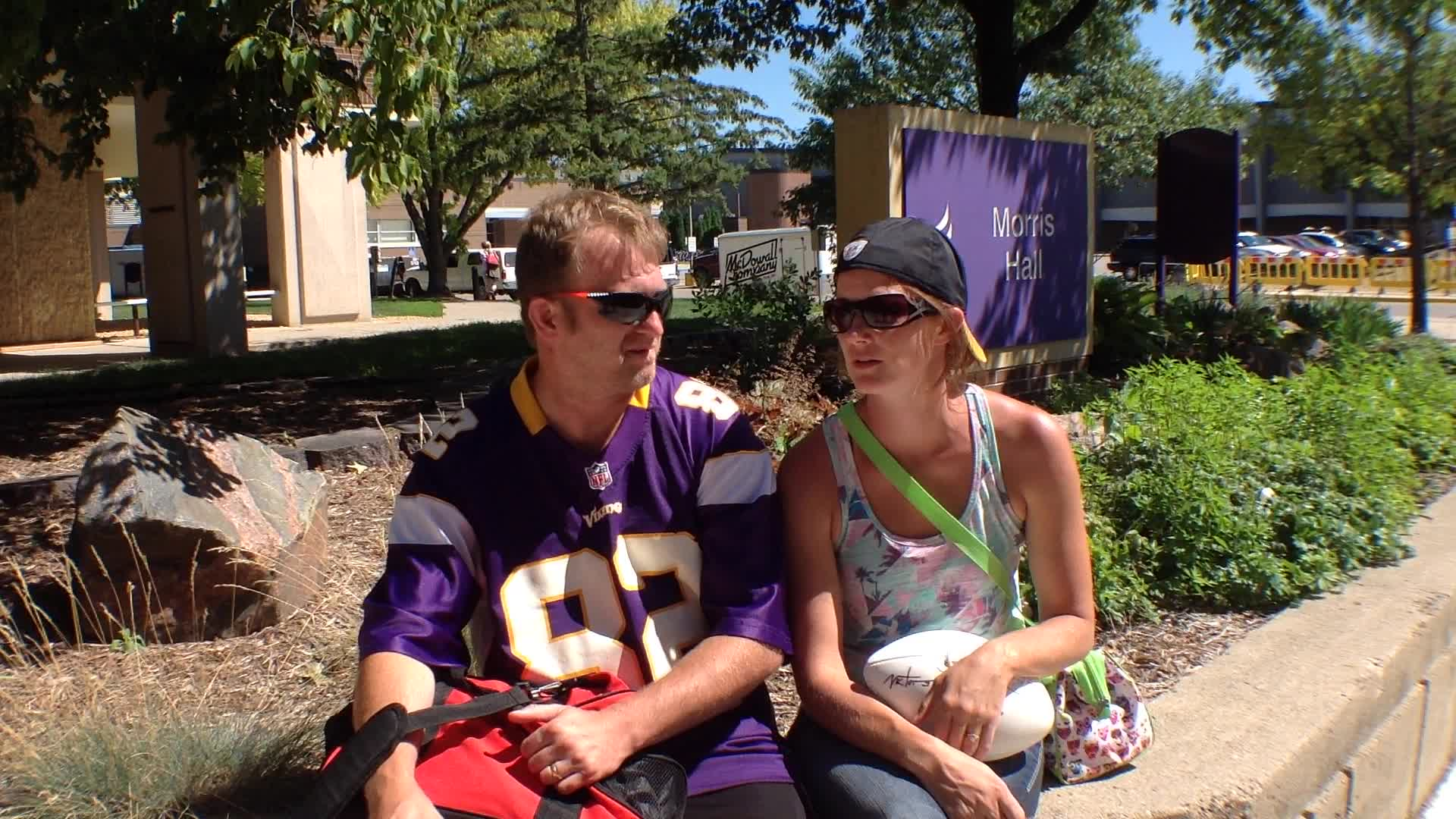 Chad Hill and Becky Hill, Clayton, WI - Fan experiences at Minnesota Vikings Training Camp at Minnesota State University, Mankato