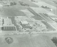 Aerial view of Highland Campus Armstrong Hall construction at Mankato State College