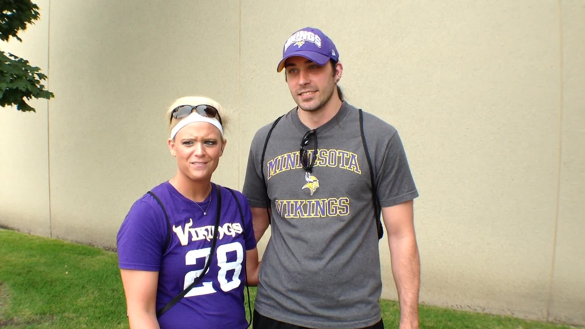 Jessica and Mark Heirigs, North Mankato, MN - Fan experiences at Minnesota Vikings Training Camp at Minnesota State University, Mankato