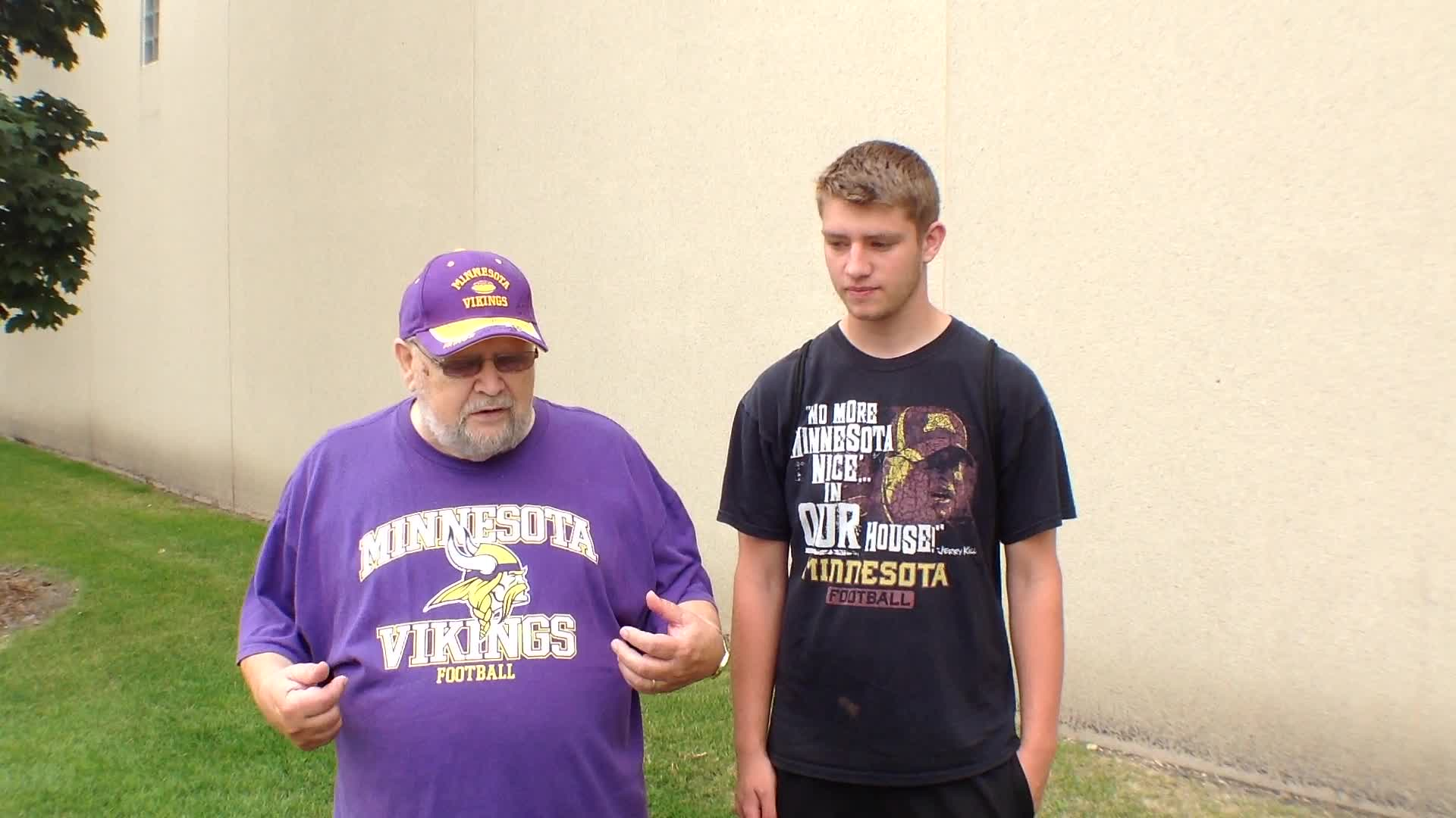 Robert Ruble and Eli Dechamps, Rochester, MN - Fan experiences at Minnesota Vikings Training Camp at Minnesota State University, Mankato