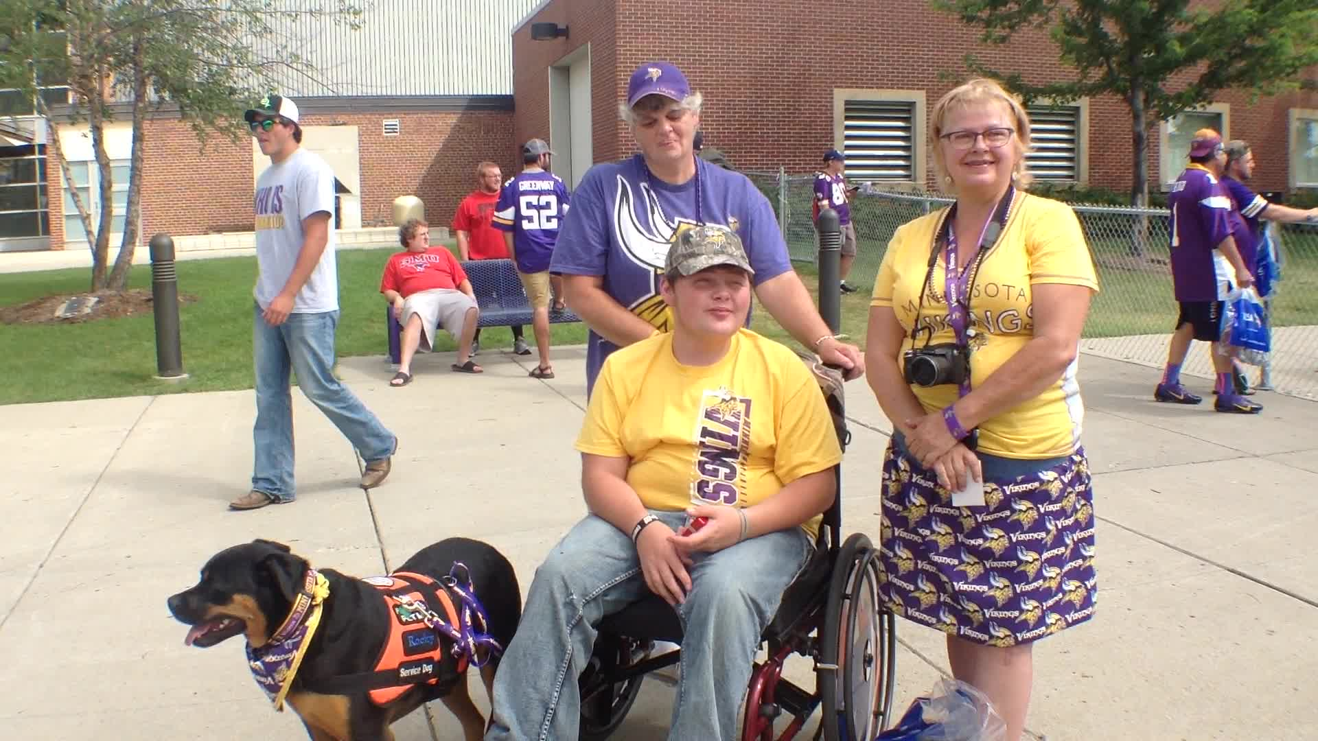 Sherry Smith, Lane Mclain and Kathy Seely, Gary, SD - Fan experience at Minnesota Vikings Training Camp at Minnesota State University, Mankato