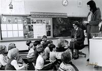 Mankato State University President Margaret Preska speaking to a class at Lincoln Elementary School, 1980.