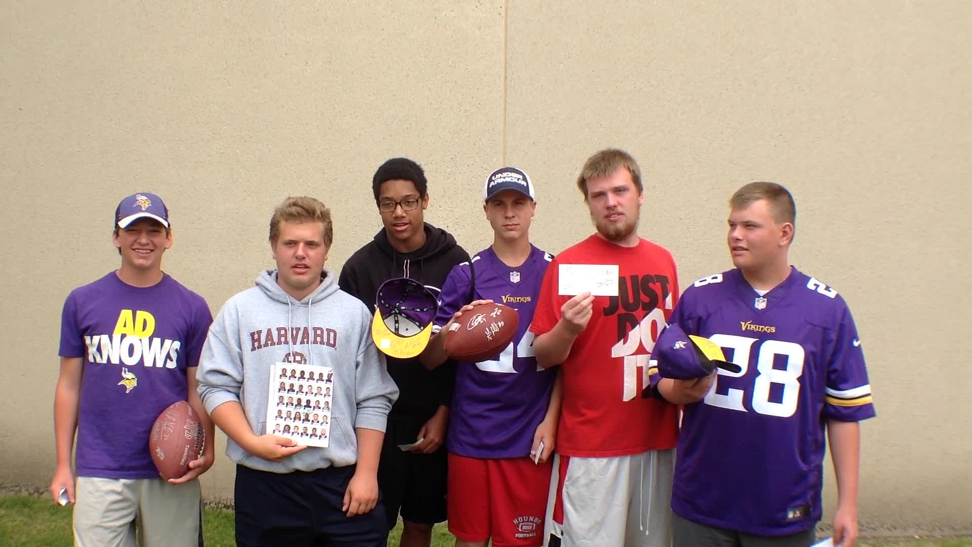 Tommy Anderson, Jan Anderson, Jonah Wehr, Iyzaya Gill, Collin Peterson, and Anthony Provinzino, Duluth, MN - Fan experiences at Minnesota Vikings Training Camp at Minnesota State University, Mankato