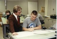 Student and teacher in  Mankato State University architecture class, 1990