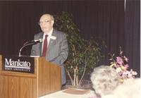 Man speaking at the Nursing Awards Dinner May 18, 1991 at Mankato State University.