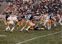 MSU football team vs. South Dakota, #6 Greg Von der Lippe QB, #32 Cordell Woods RB, #47 Joe Theobald TE, Mankato State University.