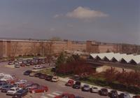 Carkoski Commons and parking lot with Crawford Residence Community in the background at Mankato State University on 05-09-1991.