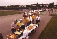 People lining up for food Mankato State University August 27, 1990.