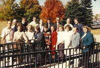 The Chamber Singers are taking a group picture at Mankato State University, 11/11/1989.