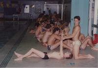 Swimming team stretching before swimming at Mankato State University 10-03-1990.
