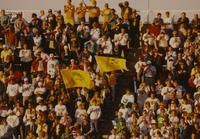 Crowed cheering at the football game, MSU VS NDSU at Mankato State University, 1990-09-15.