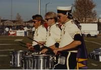 Mankato State University drummers during football game at Blakeslee Stadium October 21, 1989.