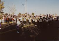 Marching Band at the Homecoming Parade, Mankato State University, 1989-10-20.
