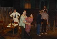 "Actresses and actresses on the set for the play "" Gemini"" at Mankato State University, 1989-10-20."