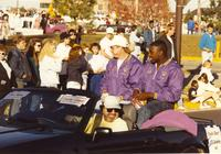 Athletes in Homecoming Parade near Mankato State University, 1989-10-20.