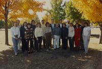 The Chamber Singer are taking a group picture at Mankato State University,1989-11-11.