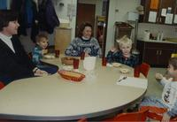 Kids and helpers at the Children's House, Mankato State University, December 13, 1989.