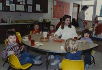 Group of unknown children at the Children's House, Mankato State University, December 13, 1989.