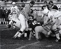 Mankato State College football team playing a home game.