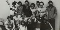 A group of students taking a group picture at Mankato State College at the late 1970's.