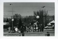 Spectators going to state Basketball Tournament, Wilson Campus School at Mankato State College, 1976.