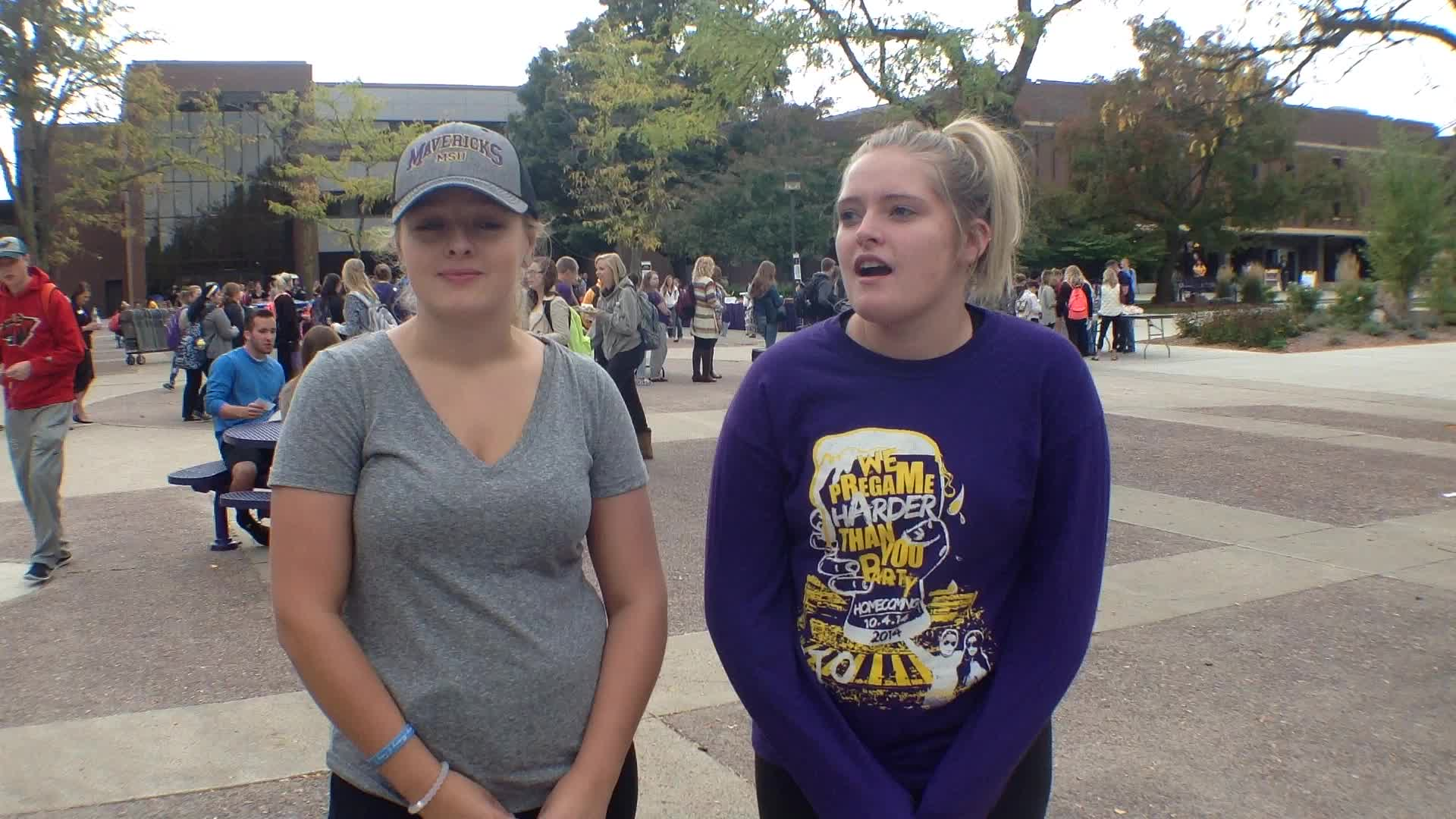 Bree Peterson, Mankato, MN and Miranda Kane, Onalaska, WI - Homecoming 2015 at Minnesota State University, Mankato