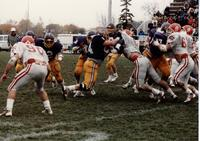 MSU football team vs. South Dakota, Mankato State University.