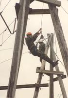 Member of ROTC participating in the Ropes Course at Mankato State University, May 12, 1990.