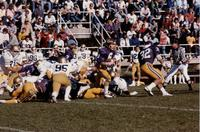 MSU football team vs. Northern Colorado, #6 Greg Von der Lippe QB, #32 Cordell Woods RB, Mankato State University.