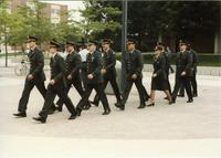 ROTC Officers walking across Campus Mall; Mankato State University