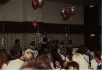School of Nursing Pinning Ceremony at the Holiday Inn, Mankato, 1990-92. Pictured left to right: Dr. Kathryn Schweer, Lindy Olsen, Scott Fiegel, unknown, Mary Peterson, Nancy McLoone.