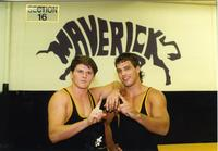 Mankato State University wrestlers, including Jim Gale on left, 1991.