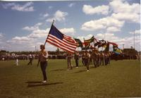 Flag procession at Mankato State University Commencement, June 4, 1982