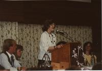 School of Nursing Pinning Ceremony at the Holiday Inn, Mankato, 1990-92. Pictured L-R: Scott Fiegel, Lindy Olsen, Dr. Margaret Preska, Nancy McLoone.