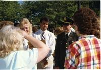 ROTC ceremony, officers and guests socializing; Mankato State University